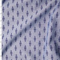 Blue on Blue Diamond Print Chambray Fabric By The Yard