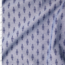 Blue on Blue Diamond Print Chambray Fabric By The Yard