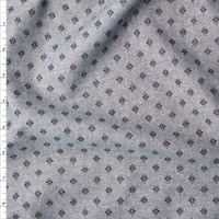 Black on Grey Floral Print Chambray Fabric By The Yard