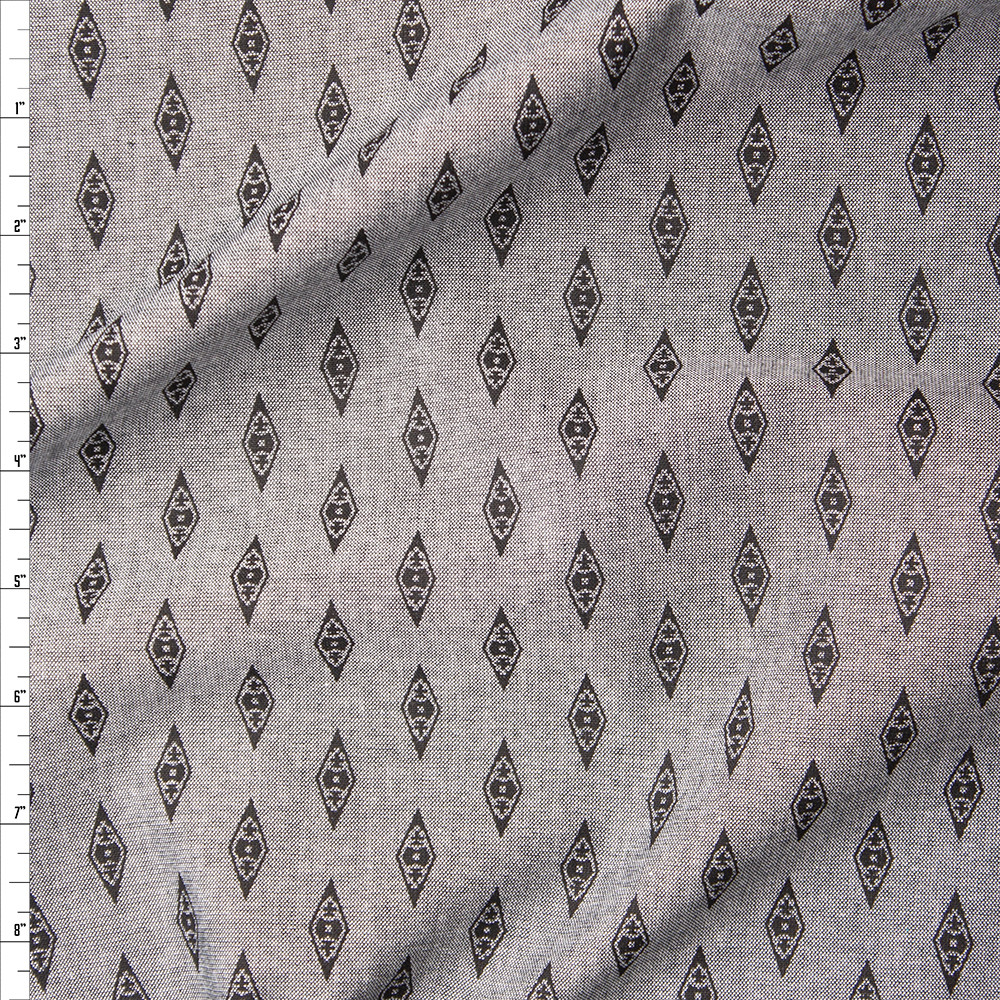 Black on Grey Diamond Print Chambray Fabric By The Yard