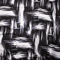 Black and White Grunge Brushstroke Designer Textured Double Knit Fabric By The Yard - Wide shot