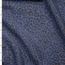 Black and Navy Cheetah Designer Textured Double Knit Fabric By The Yard