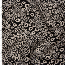 Black and Tan Mixed Leopard Designer Textured Double Knit Fabric By The Yard