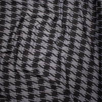 Black and Charcoal Houndstooth Designer Textured Double Knit Fabric By The Yard - Wide shot