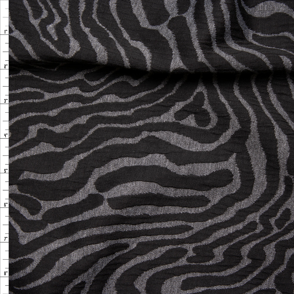 Black and Grey Zebra Inspired Designer Textured Double Knit Fabric By The Yard