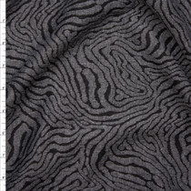 Grey and Black Zebra Inspired Designer Textured Double Knit Fabric By The Yard