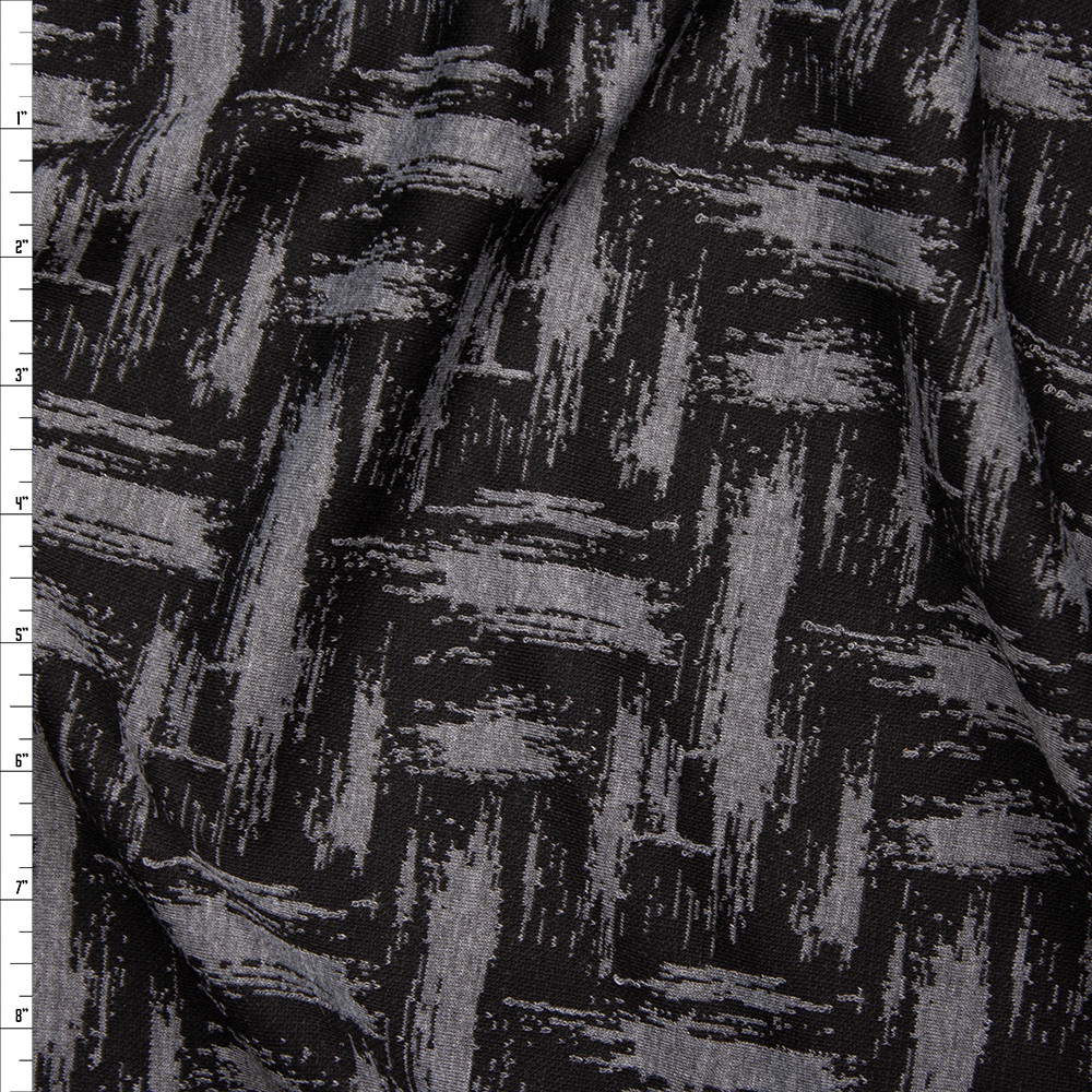 Black and Grey Grunge Brushstroke Designer Textured Double Knit Fabric By The Yard