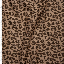 Brown and Tan Cheetah Designer Double Sweater Knit Fabric By The Yard