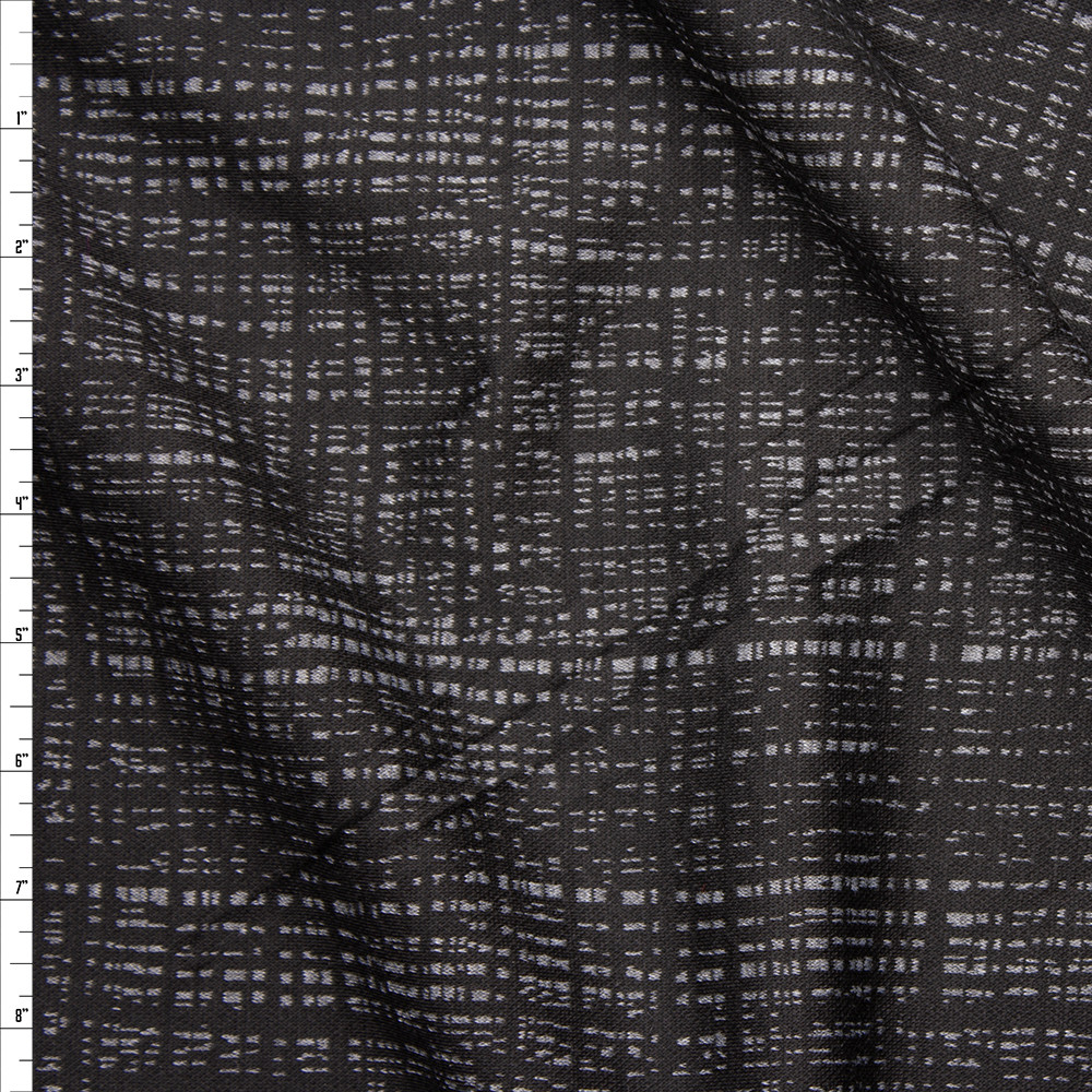 Black and Grey Grunge Lined Designer Double Sweater Knit Fabric By The Yard