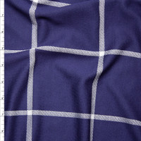 Navy and White Large Windowpane Check Stretch Double Knit Fabric By The Yard