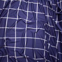 Navy and White Large Windowpane Check Stretch Double Knit Fabric By The Yard - Wide shot