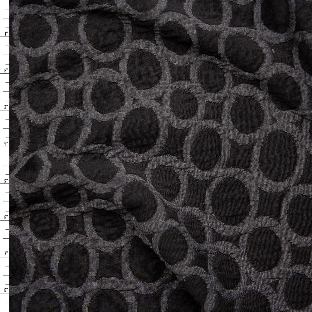 Grey and Black Circles Designer Stretch Double Sweater Knit Fabric By The Yard