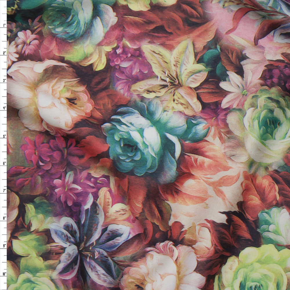 All Over Flower Garden Scuba Knit Print Fabric By The Yard