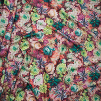 All Over Flower Garden Scuba Knit Print Fabric By The Yard - Wide shot