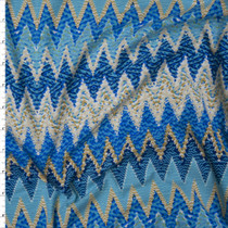 Blue, Turquoise, and Ivory Patterned Sharp Chevron Double Brushed Poly/Spandex Knit Fabric By The Yard