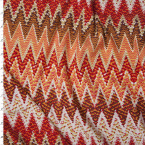 Red, Orange, and Ivory Patterned Sharp Chevron Double Brushed Poly/Spandex Knit Fabric By The Yard