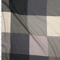 Black, Taupe, Tan, and Charcoal Large Plaid Double Brushed Poly/Spandex Knit Fabric By The Yard