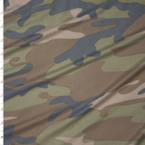 Muted Classic Camouflage Double Brushed Poly/Spandex Knit Fabric By The Yard