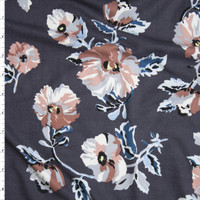 Blush, Dusty Rose, and Teal Flowers on Charcoal Double Brushed Poly/Spandex Knit Fabric By The Yard
