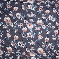 Blush, Dusty Rose, and Teal Flowers on Charcoal Double Brushed Poly/Spandex Knit Fabric By The Yard - Wide shot