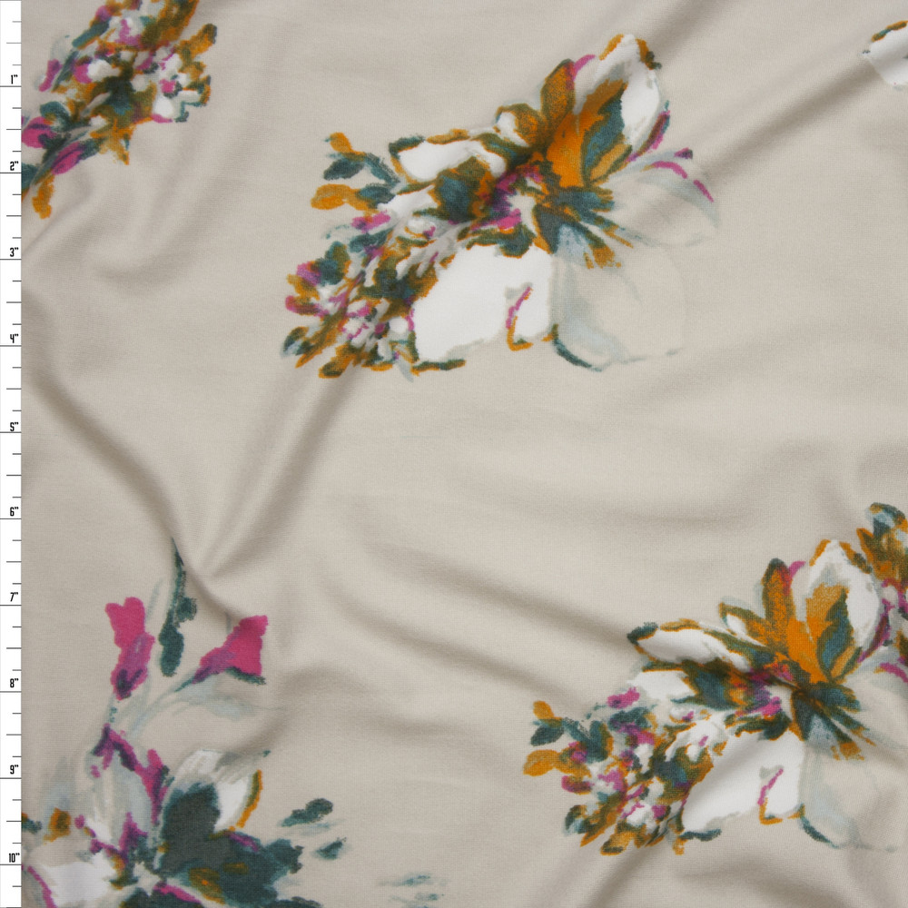 Cali Fabrics How Pink Mango Teal And White Flowers On Ivory