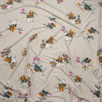 How Pink, Mango, Teal, and White Flowers on Ivory Double Brushed Poly/Spandex Knit Fabric By The Yard - Wide shot