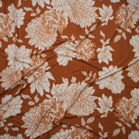 Ivory Hand Drawn Flowers on Rust Double Brushed Poly/Spandex Knit Fabric By The Yard - Wide shot