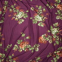 Green and Red Sketchbook Floral on Plum Double Brushed Poly/Spandex Knit Fabric By The Yard - Wide shot