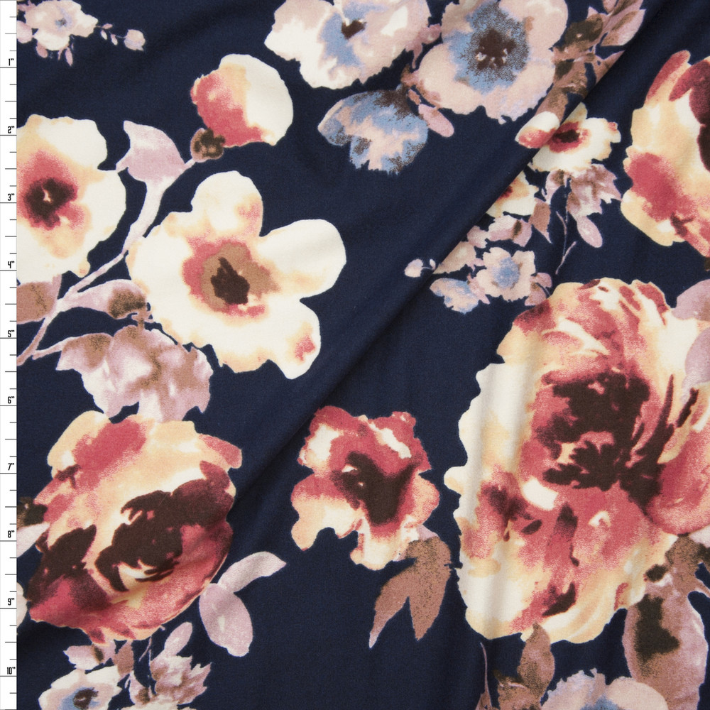 Pink and Soft Blue Watercolor Flowers on Navy Blue Double Brushed Poly/Spandex Knit Fabric By The Yard