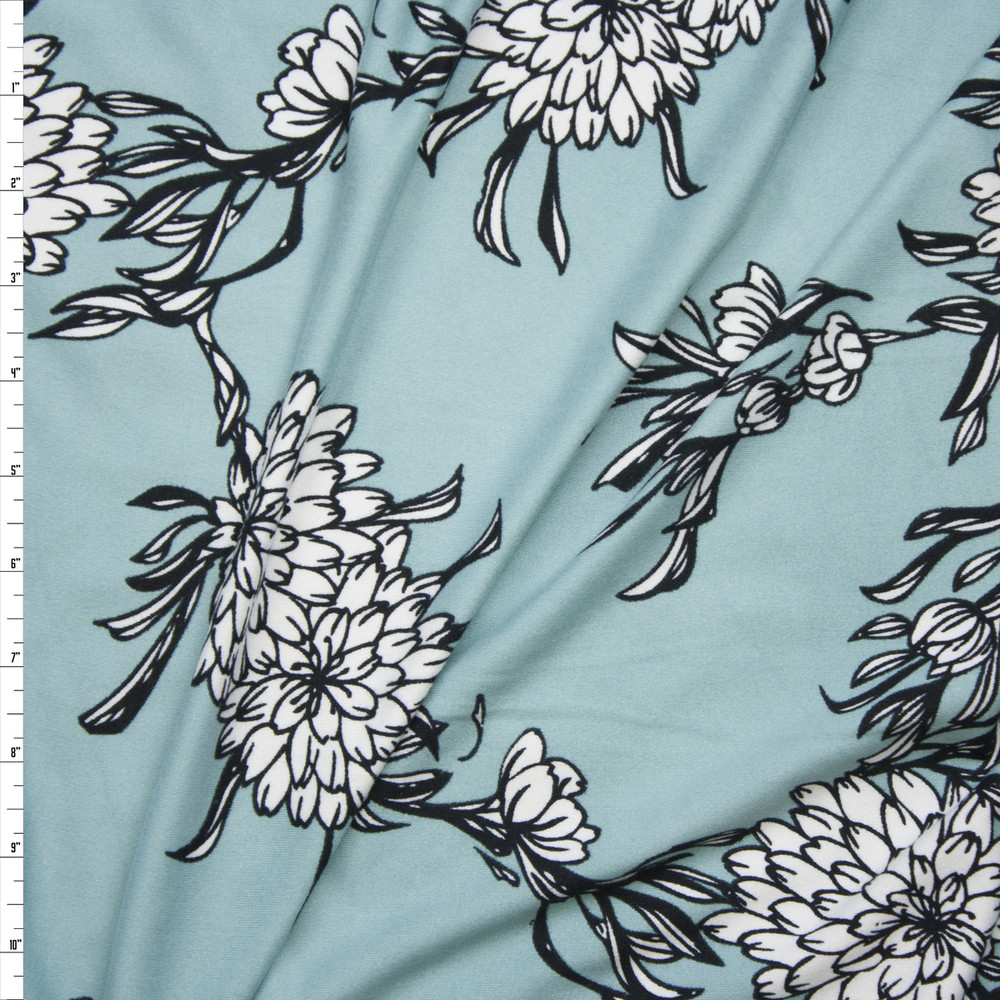 White and Navy Sketchbook Mums on Aqua Double Brushed Poly/Spandex Knit Fabric By The Yard