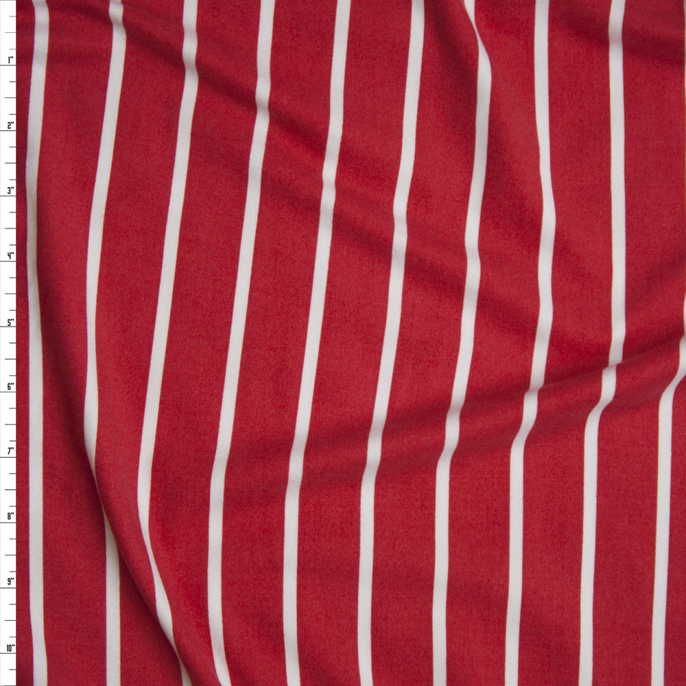 White on Red Pencil Stripe Double Brushed Poly/Spandex Knit Fabric By The Yard