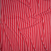 White on Red Pencil Stripe Double Brushed Poly/Spandex Knit Fabric By The Yard - Wide shot