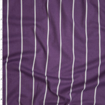 White on Dusty Plum Pencil Stripe Double Brushed Poly/Spandex Knit Fabric By The Yard