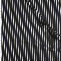 White on Black Pinstripe Double Brushed Poly/Spandex Knit Fabric By The Yard