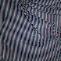 White on Black Pinstripe Double Brushed Poly/Spandex Knit Fabric By The Yard - Wide shot