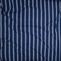 White on Navy Blue Stripe Double Brushed Poly/Spandex Knit Fabric By The Yard - Wide shot