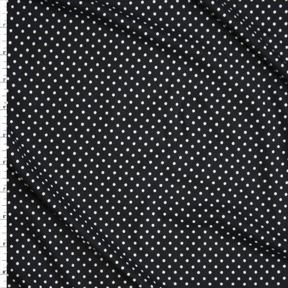 White on Black Polka Dot Double Brushed Poly/Spandex Knit Fabric By The Yard