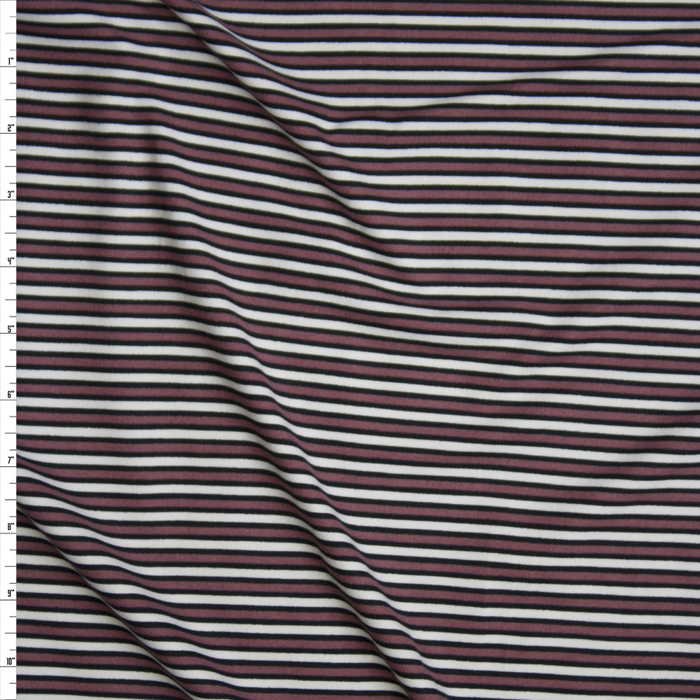 Mauve, Black, and Ivory Narrow Stripe Double Brushed Poly/Spandex Knit Fabric By The Yard