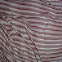 Mauve, Black, and Ivory Narrow Stripe Double Brushed Poly/Spandex Knit Fabric By The Yard - Wide shot