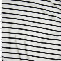 Black and Offwhite Pencil Stripe Double Brushed Poly/Spandex Knit Fabric By The Yard
