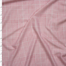 Pink and White Houndstooth Plaid Double Brushed Poly Spandex Knit Fabric By The Yard