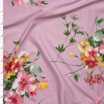 Pink, Red, and Yellow Flowers on Pink Double Brushed Poly Spandex Knit Fabric By The Yard