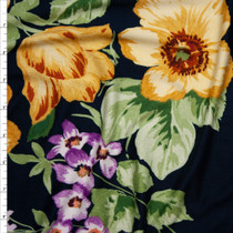 Yellow and Violet Large Floral on Navy Double Brushed Poly Spandex Knit Fabric By The Yard