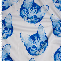 Blue Tossed Cats on White Double Brushed Poly Spandex Knit Fabric By The Yard