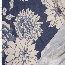 Offwhite Flowers on Heather Slate Blue French Terry Fabric By The Yard