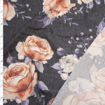 Soft Peach and Grey Rose Floral on Charcoal French Terry Fabric By The Yard