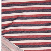 Red, Black, and White Stripe Cotton French Terry Fabric By The Yard