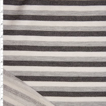 Grey, Black, and White Stripe Cotton French Terry Fabric By The Yard