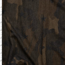 Dark Olive Camouflage with Black Stars Loop Printed French Terry Fabric By The Yard