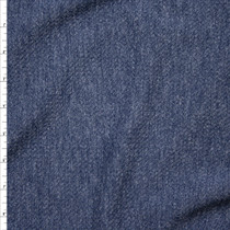 Heather Slate Blue Textured Stretch Double Knit Fabric By The Yard